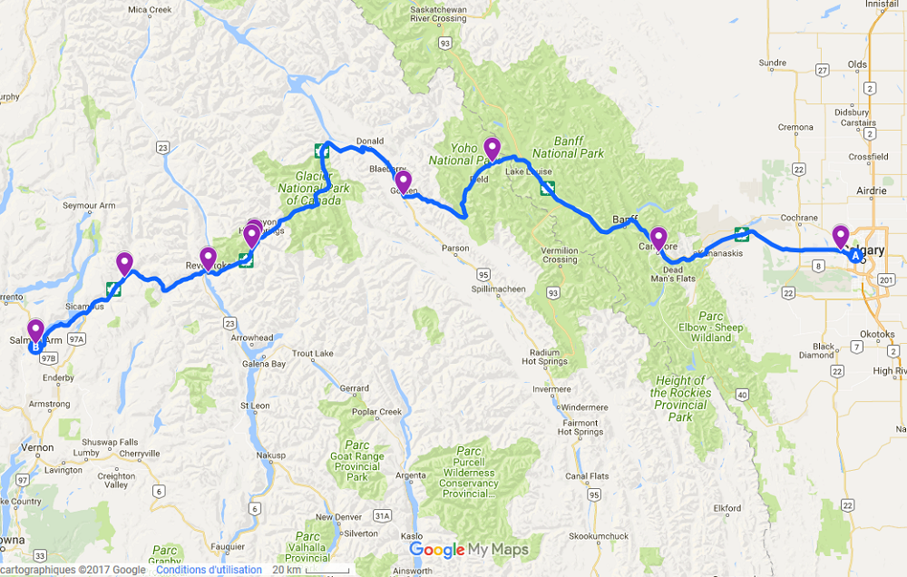 itinéraire de calgary à salmon arm via la transcanadienne