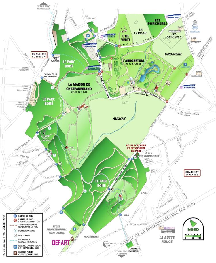 plan du parc de la vallée aux loups