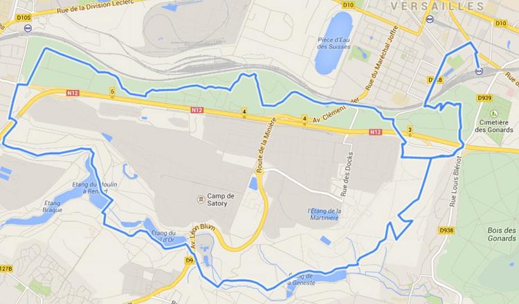 plan randonnée Les étangs de la Bièvre