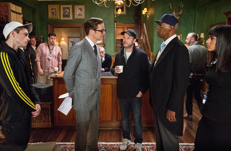 Colin-firth-samuel-l.-jackson-matthew-vaughn-and-taron-egerton-in-kingsman-the-secret-service