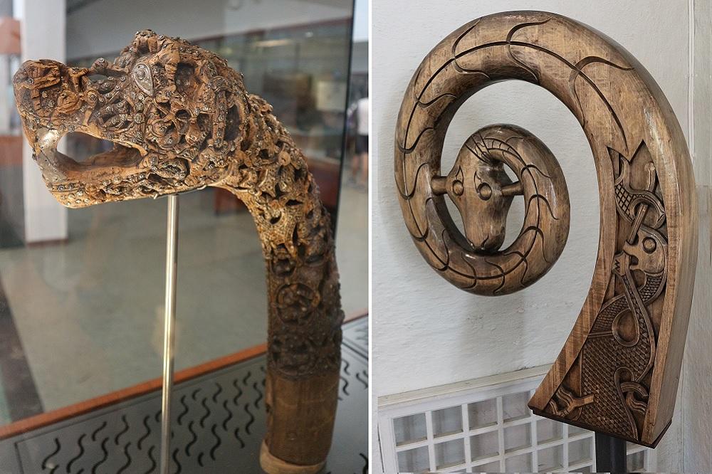 canne à tête d'animaux de la sépulture d'Oseberg